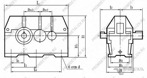 Редукторы цилиндрические горизонтальные двухступенчатые.  Тип Ц2У-315Н,355Н,400Н.